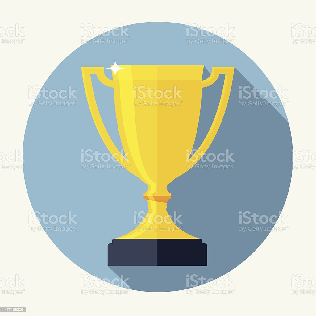 Trophy Cup Flat Icon with Long Shadow royalty-free stock vector art