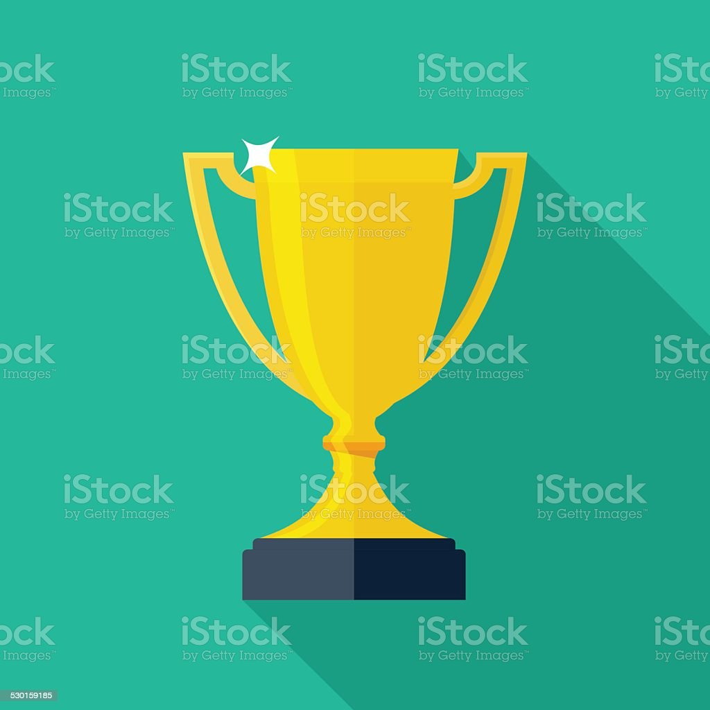 Trophy Cup Flat Icon with Long Shadow vector art illustration