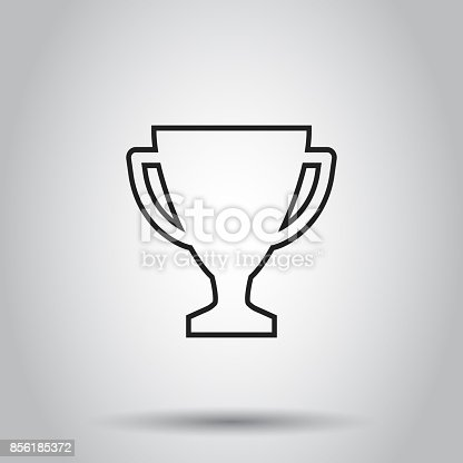 Trophy Cup Flat Vector Icon In Line Style Simple Winner Symbol Black