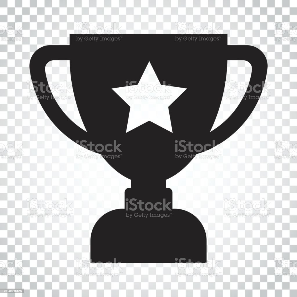 Trophy Cup Flat Vector Icon Simple Winner Symbol Black Illustration On Isolated Background
