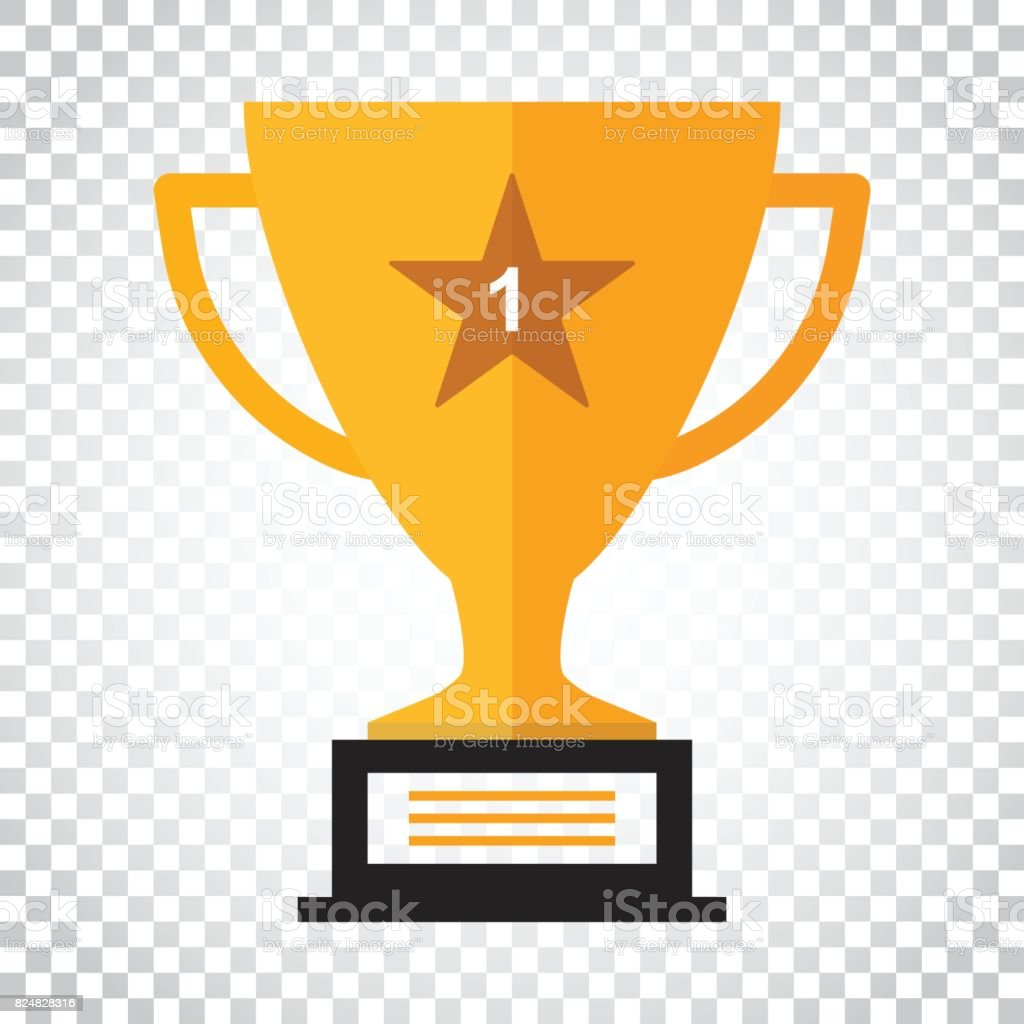 Trophy Cup Flat Vector Icon Simple Winner Symbol Gold Illustration On Isolated Background