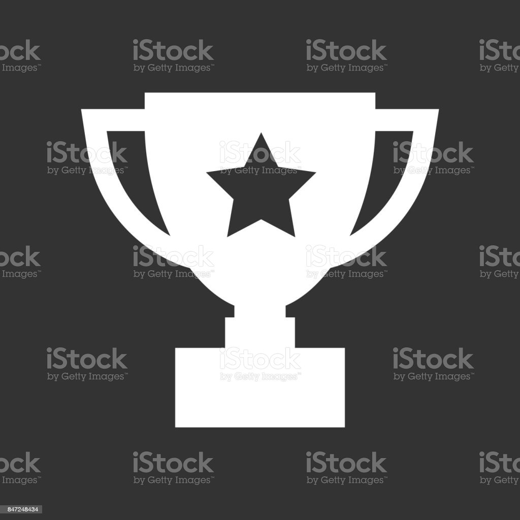 Trophy Cup Flat Vector Icon Simple Winner Symbol White Illustration Isolated On Black Background