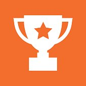 istock Trophy cup flat vector icon. Simple winner symbol. White illustration isolated on orange background. 851829070
