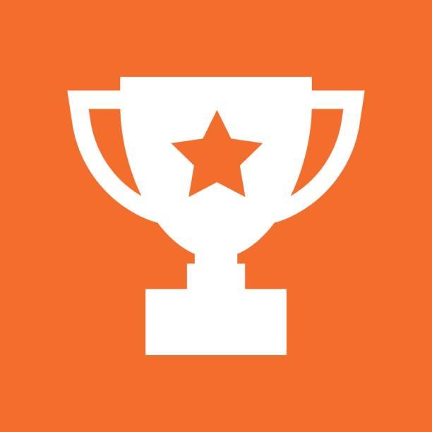 trophy kupası düz vektör simgesi. basit kazanan sembolü. beyaz illüstrasyon izole turuncu arka plan üzerinde. - kupa ödül stock illustrations