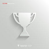 Trophy cup icon - vector white app button