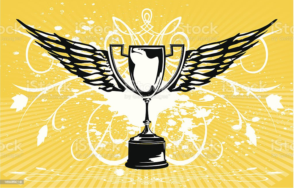 Trophy - Cup prize with wings royalty-free stock vector art