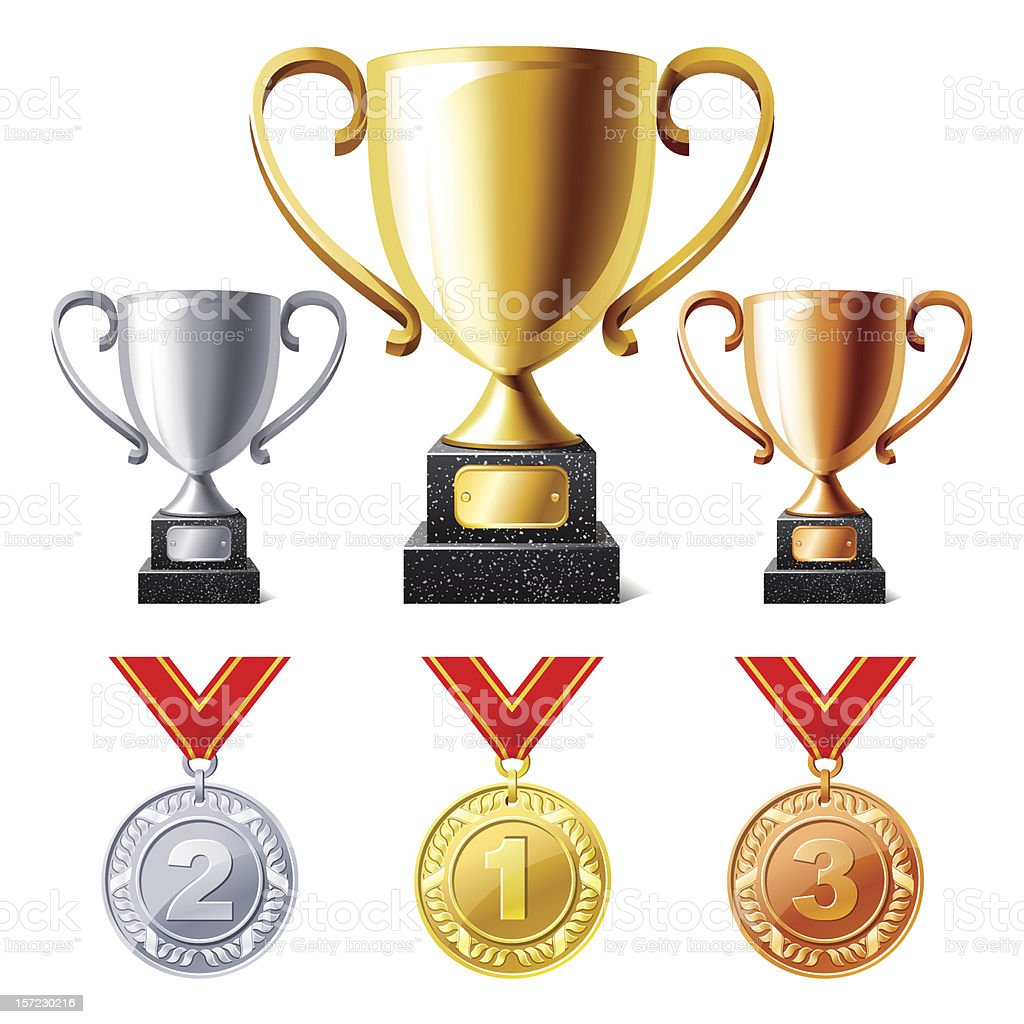 Trophy cups and medals vector art illustration