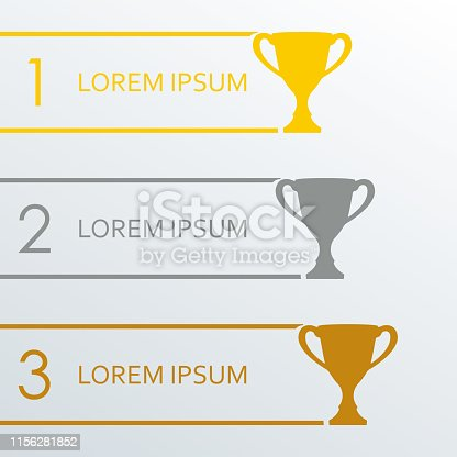 Trophy Cups infographics template. 1, 2, 3 place award. Vector illustration.