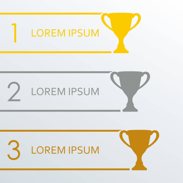 Trophy Cups infographics template. 1, 2, 3 place award. Vector illustration. Trophy Cups infographics template. 1, 2, 3 place award. Vector illustration. gezond stock illustrations