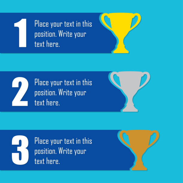 Trophy Cups infographics template. First place award. Sport design elements with space for text. Vector illustration. Trophy Cups infographics template. First place award. Sport design elements with space for text. Vector illustration. gezond stock illustrations