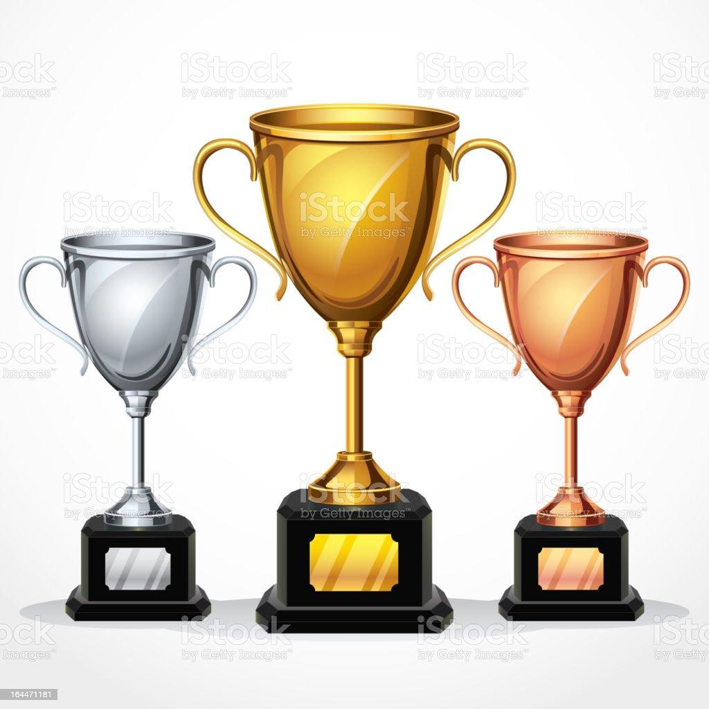 Trophy cups. vector art illustration