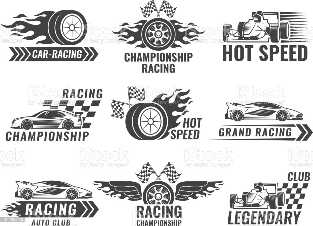 Trophy Engine Rally And Others Symbols For Race Sport Labels Stock