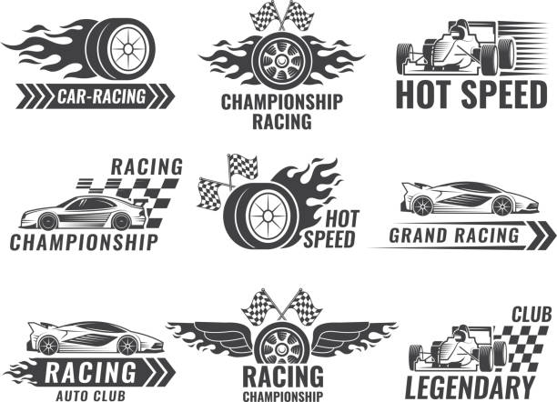 trophy, engine, rally and others symbols for race sport labels - formula 1 stock illustrations