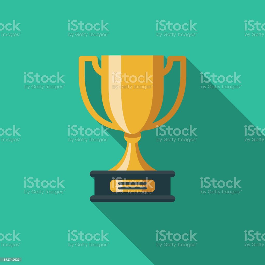 Trophy Flat Design Education Icon with Side Shadow - Grafika wektorowa royalty-free (Bez ludzi)