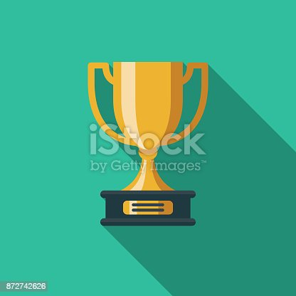 istock Trophy Flat Design Education Icon with Side Shadow 872742626