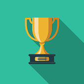Trophy Flat Design Education Icon with Side Shadow