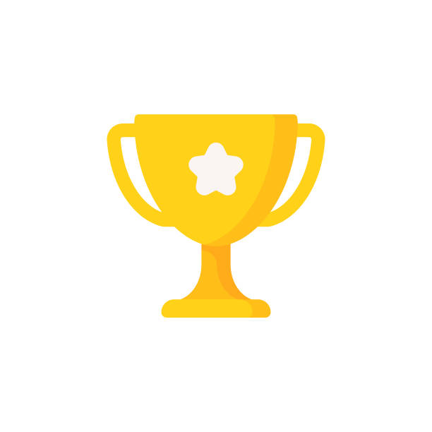 Trophy Flat Icon. Pixel Perfect. For Mobile and Web. Trophy Flat Icon. win stock illustrations