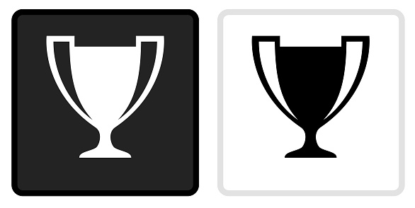 Trophy Icon on  Black Button with White Rollover. This vector icon has two  variations. The first one on the left is dark gray with a black border and the second button on the right is white with a light gray border. The buttons are identical in size and will work perfectly as a roll-over combination.