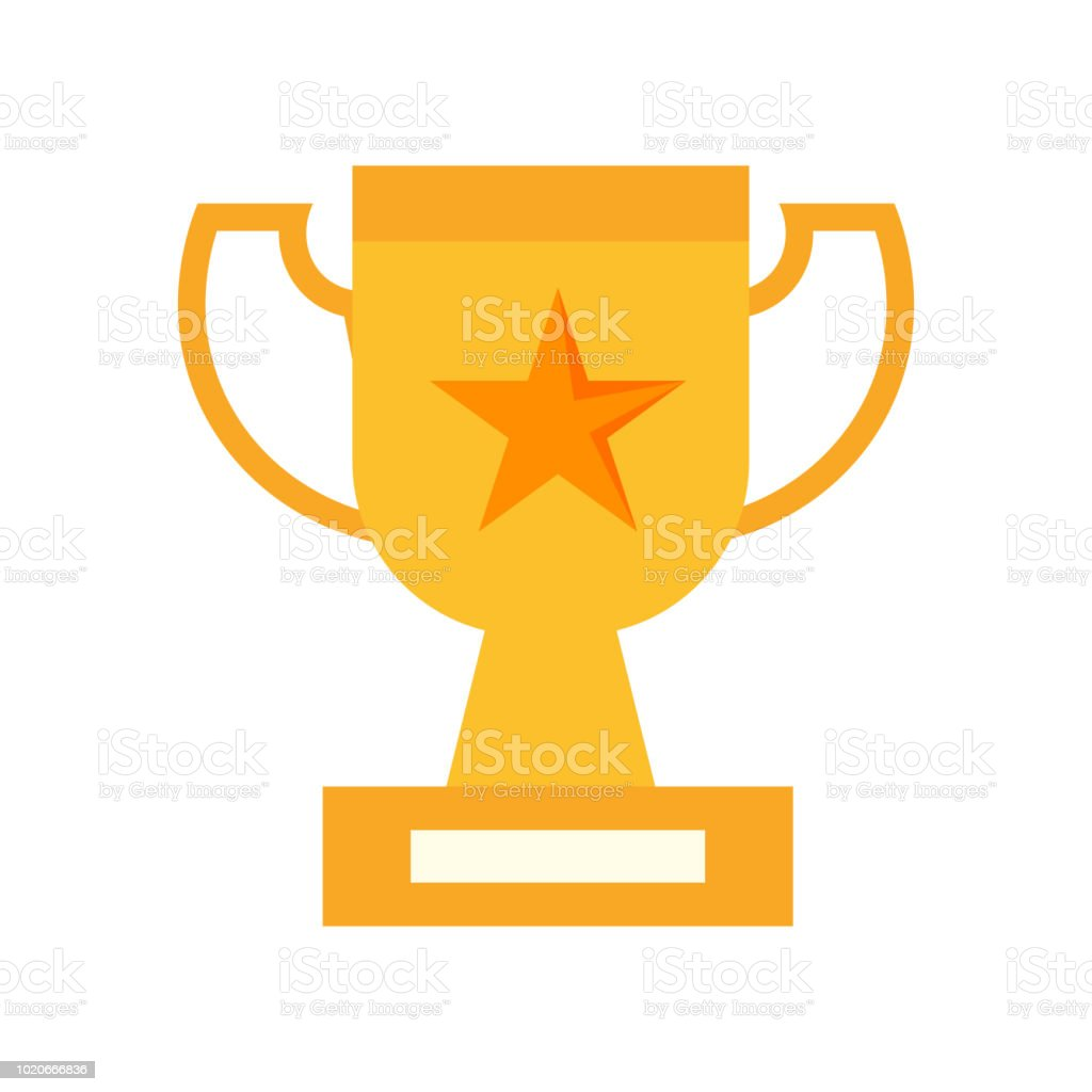 Trophy icon vector sign and symbol isolated on white background, Trophy logo concept vector art illustration