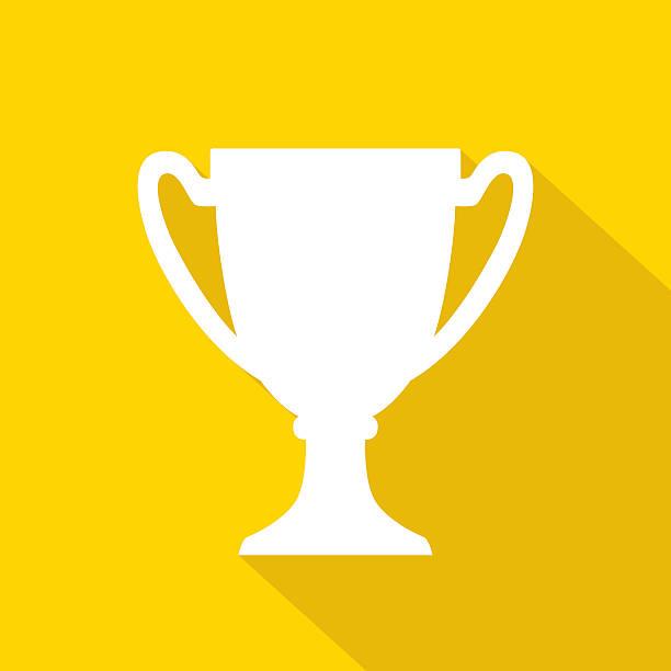 trophy icon white - kupa ödül stock illustrations