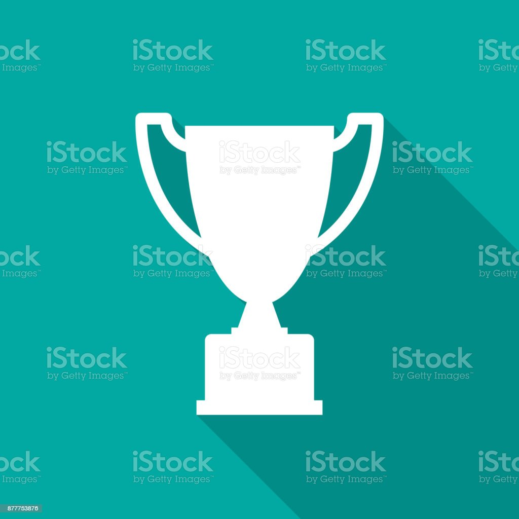 Trophy icon with long shadow. Flat design style.