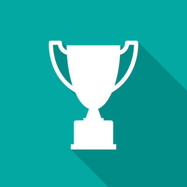 uzun gölge ile kupa simgesi. düz tasarım stili. - kupa ödül stock illustrations