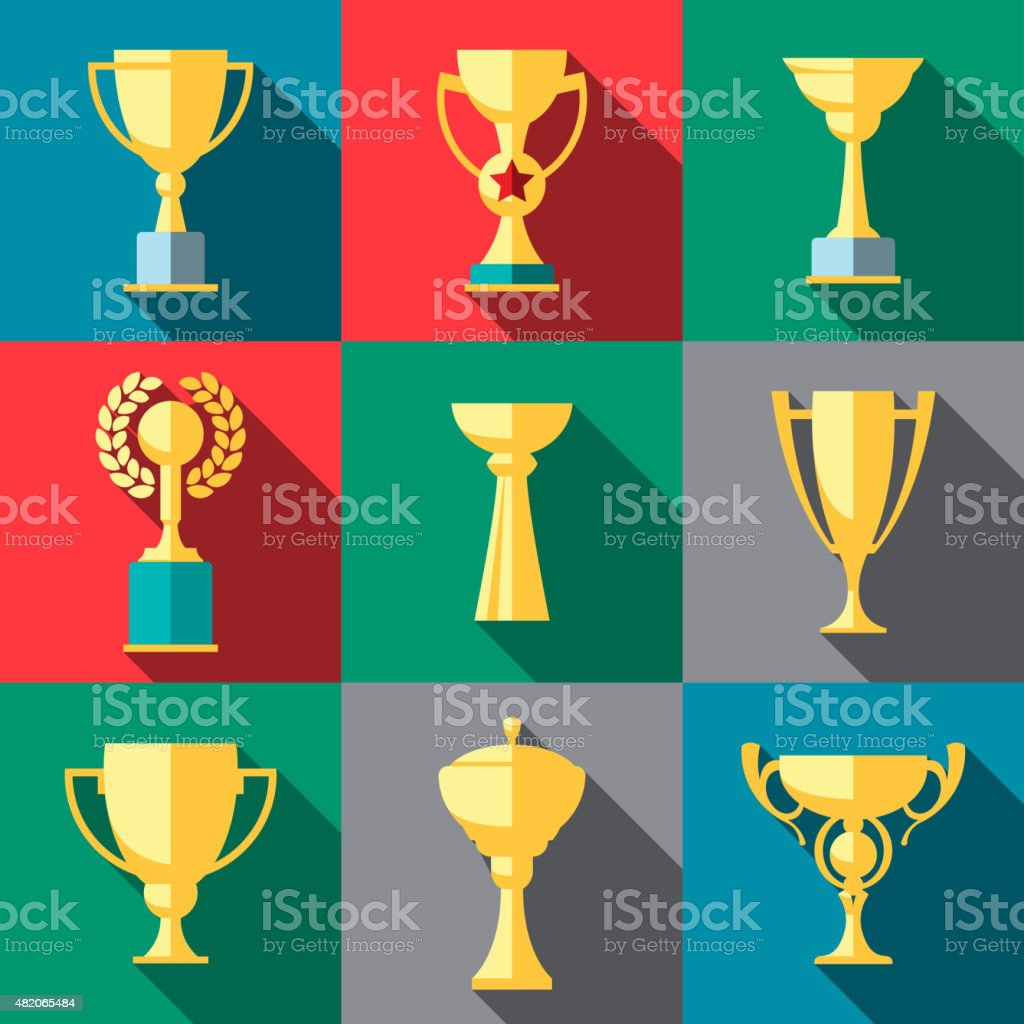 Trophy icons. Winner cup vector art illustration