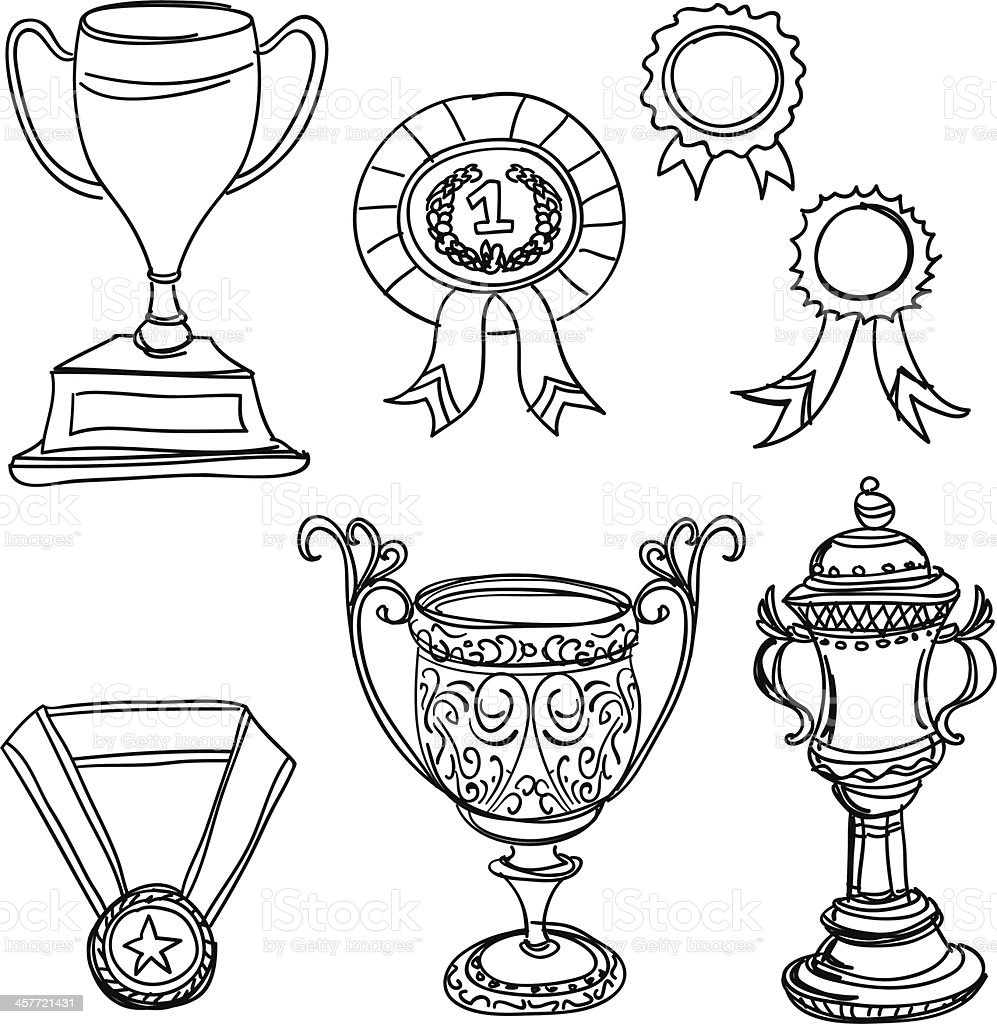 Trophy in black and white royalty-free stock vector art
