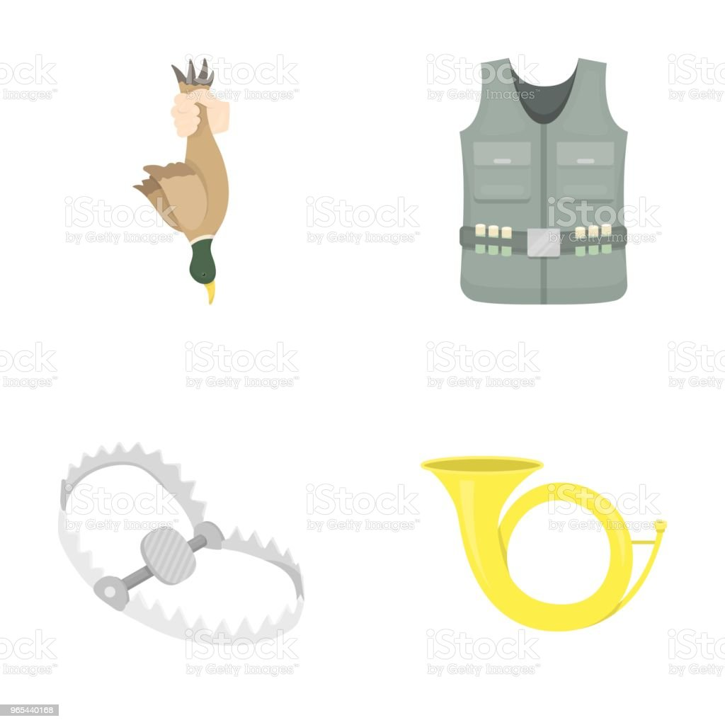 A trophy in his hand, a steel trap, a hunting vest with patronage, a horn..Hunting set collection icons in cartoon style vector symbol stock illustration web. royalty-free a trophy in his hand a steel trap a hunting vest with patronage a hornhunting set collection icons in cartoon style vector symbol stock illustration web stock vector art & more images of baby booties