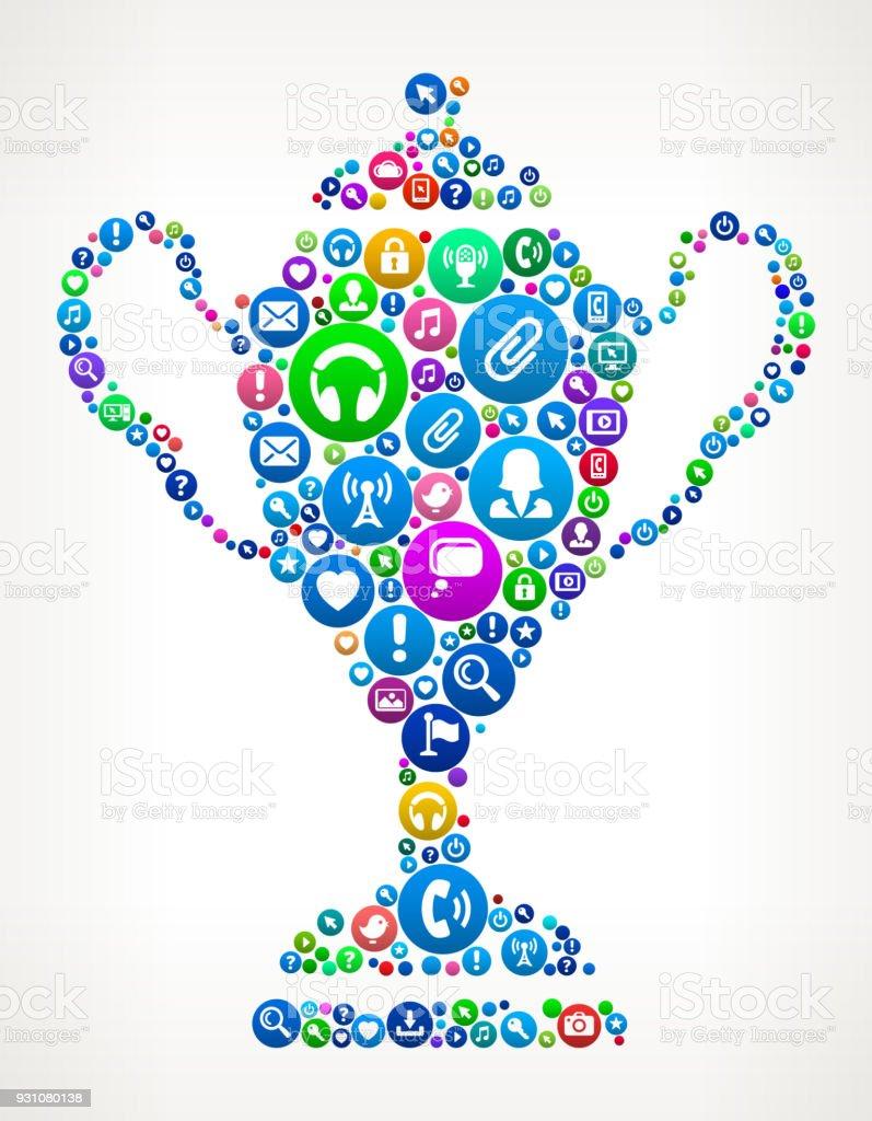 Trophy Internet Communication Technology Icon Pattern vector art illustration