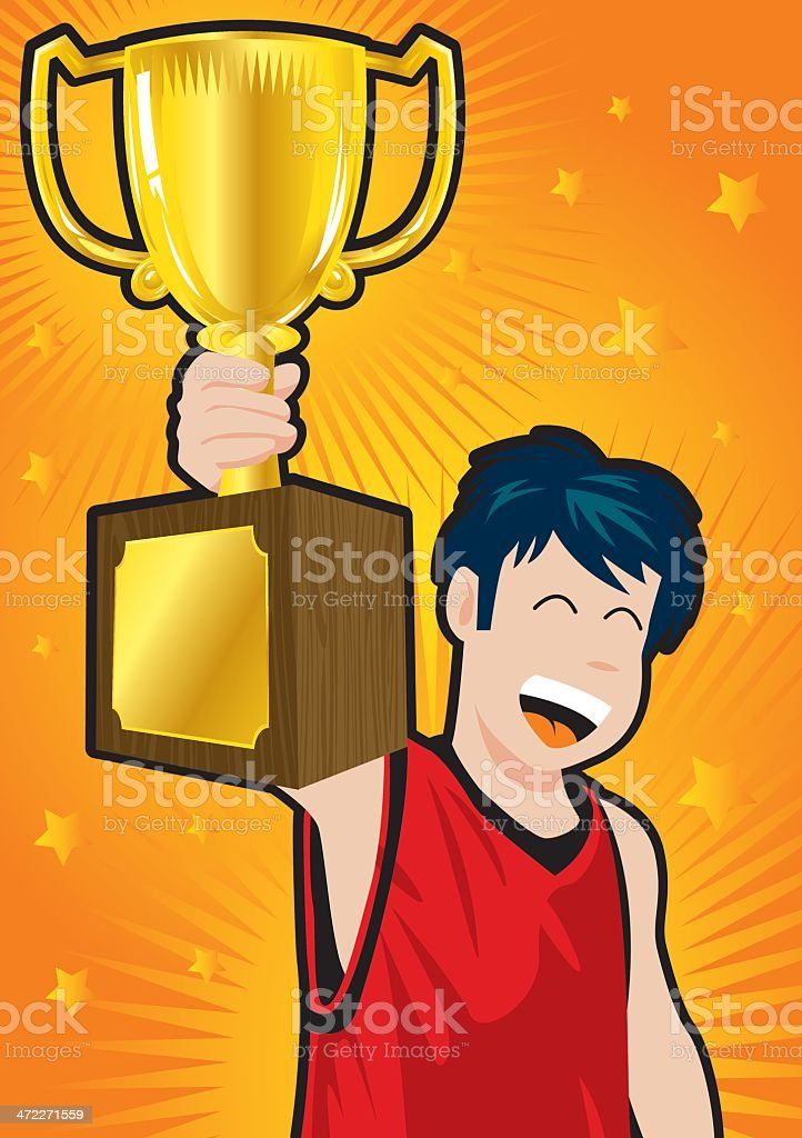 Trophy Kid vector art illustration