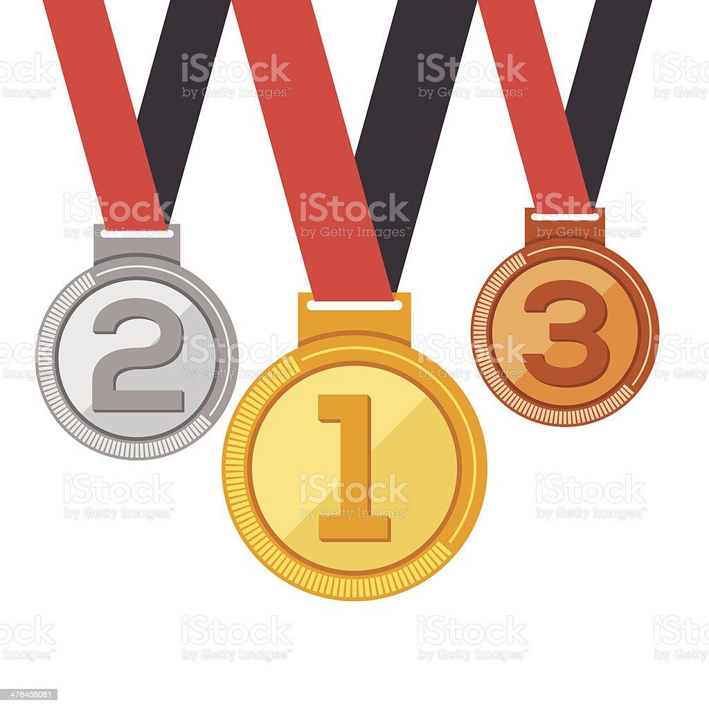 Trophy medal awards in flat design style. vector art illustration