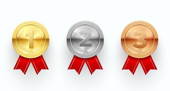 Trophy medals set, reward sign and ceremony