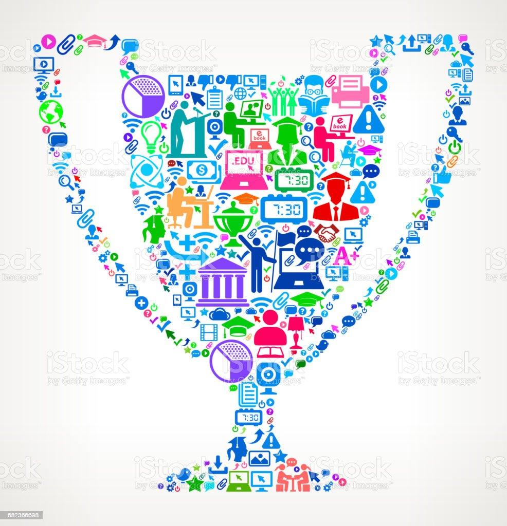 Trophy Modern utbildning och College grad ikonen mönster royaltyfri trophy modern utbildning och college grad ikonen mönster-vektorgrafik och fler bilder på 20-24 år