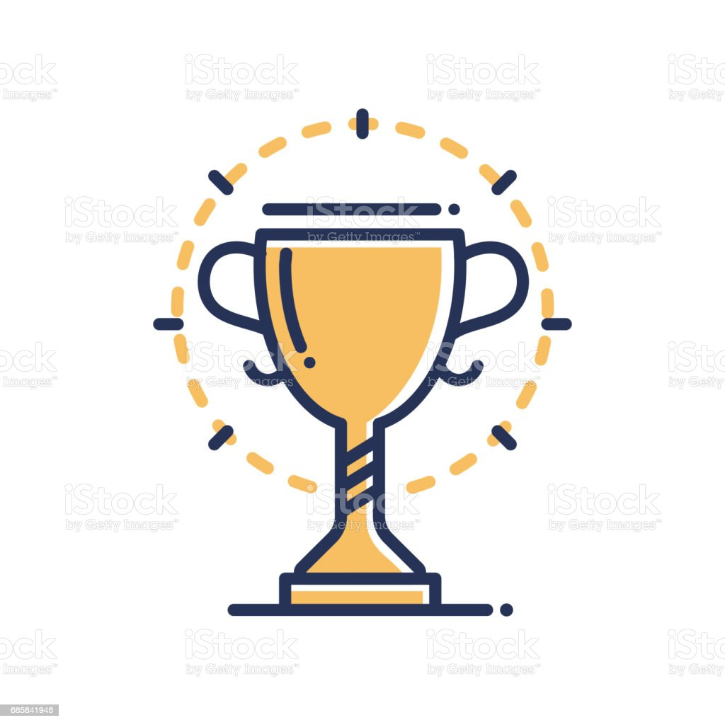 Trophy - modern vector single line icon vector art illustration