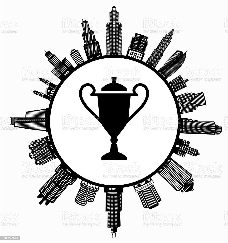 Trophy on Modern Cityscape Skyline Background royalty-free trophy on modern cityscape skyline background stock vector art & more images of achievement