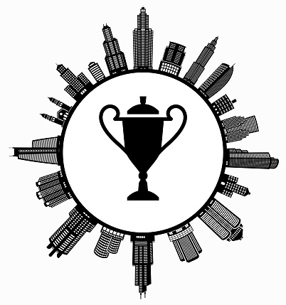 Trophy On Modern Cityscape Skyline Background Stock Illustration - Download Image Now