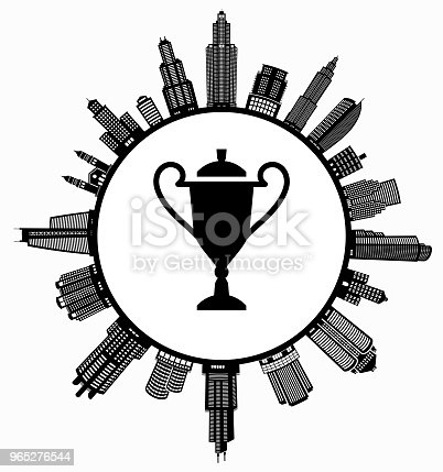 Trophy On Modern Cityscape Skyline Background Stock Vector Art & More Images of Achievement 965276544