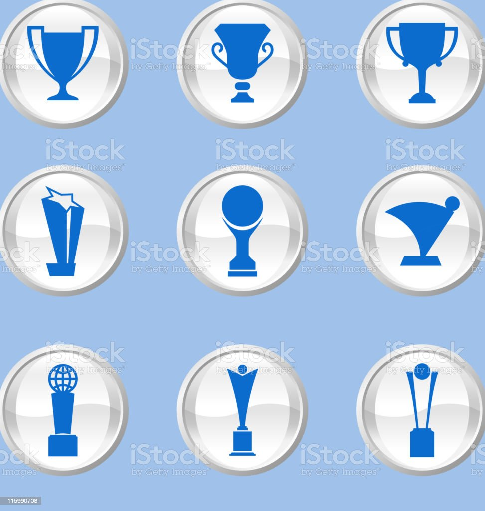 Trophy or athletics icon against a pastel blue background royalty-free stock vector art