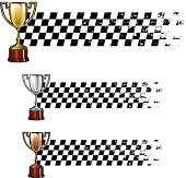 Racing banners with golden silver and bronze trophy cups over grunge chequered flag. Space for copy.