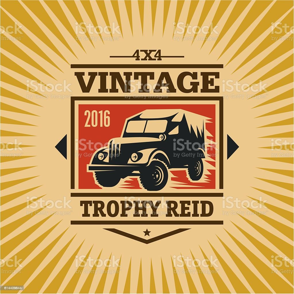 trophy reid vintage label, suv vector vector art illustration