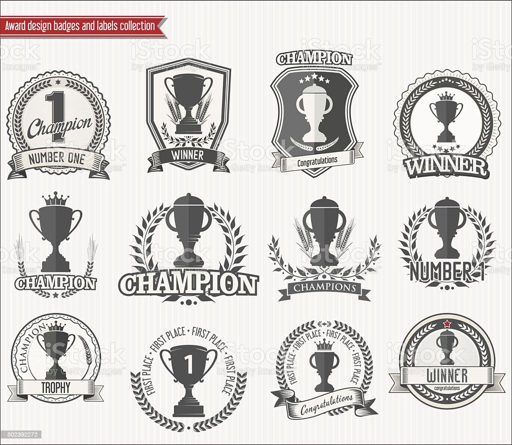 Trophy retro badges collection vector art illustration