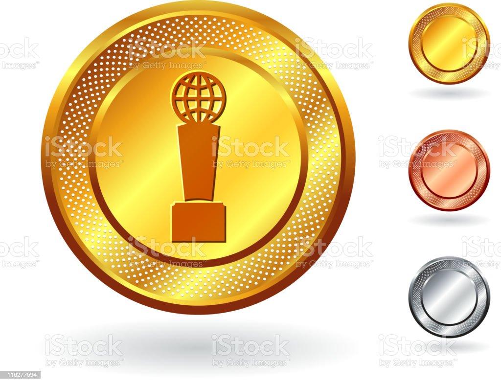 Trophy royalty free vector art on metallic button royalty-free trophy royalty free vector art on metallic button stock vector art & more images of arranging