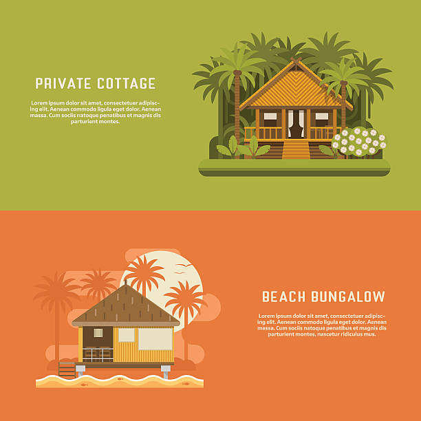 Tropic Bungalow Banners vector art illustration
