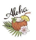 Tropic coconut cocktail. Vector Hand drawn illustration. Aloha background