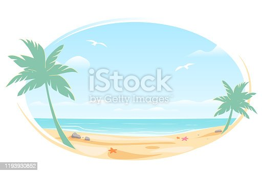 Tropic landscape Poster in oval frame for banner design. Sunny Paradise template illustration with copy space. Summer vacation traveling beach ocean. Greeting card. Vector White background isolated.