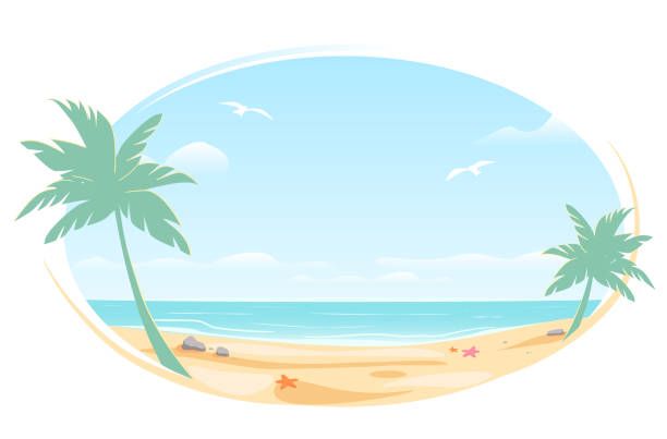 Tropic landscape Poster, oval frame for banner design. Sunny Paradise template illustration with copy space. Summer vacation traveling beach ocean. Greeting card. Vector White background isolated. Tropic landscape Poster in oval frame for banner design. Sunny Paradise template illustration with copy space. Summer vacation traveling beach ocean. Greeting card. Vector White background isolated. beach clipart stock illustrations