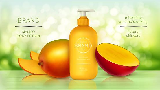 Tropic mango cosmetics realistic vecto