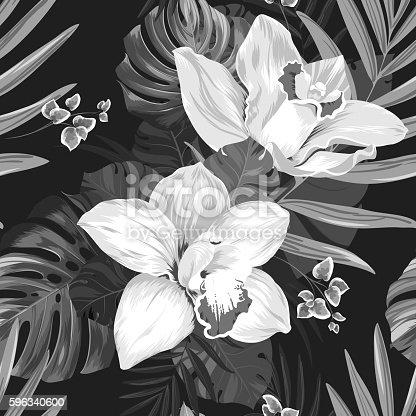 Tropic Monochrome Seamless Pattern Stock Vektor Art und mehr Bilder von Abstrakt 596340600