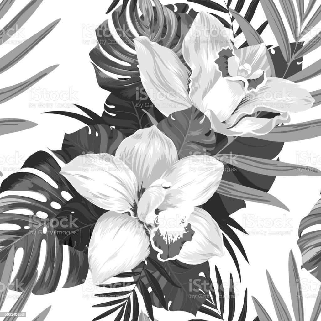 Tropic monochrome seamless pattern Lizenzfreies tropic monochrome seamless pattern stock vektor art und mehr bilder von ast - pflanzenbestandteil